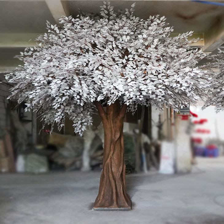 Silk White Silver Banyan Tree Tropical Hotel Decoration