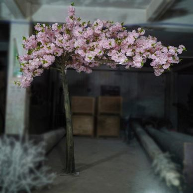 Artificial Decorative Pink Cherry Blossom Tree With Green Leaves