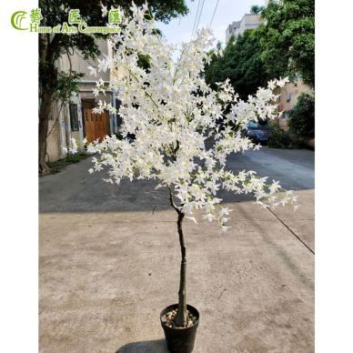 Mini White Artificial Floral Tree Potted Bonsai Plants